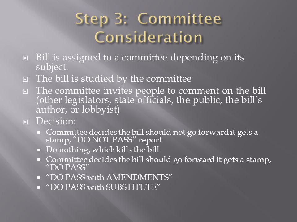 Step 3: Committee Consideration