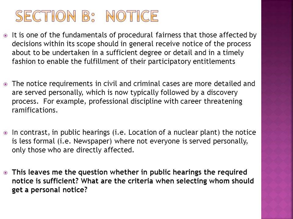 Section B: Notice