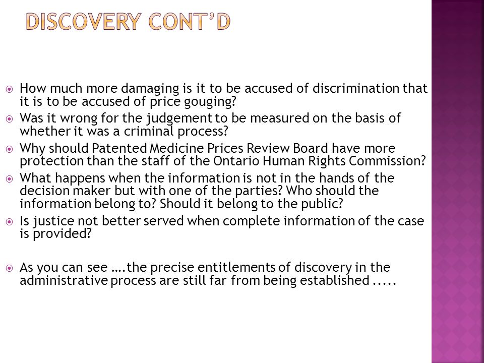 Discovery cont'd How much more damaging is it to be accused of discrimination that it is to be accused of price gouging