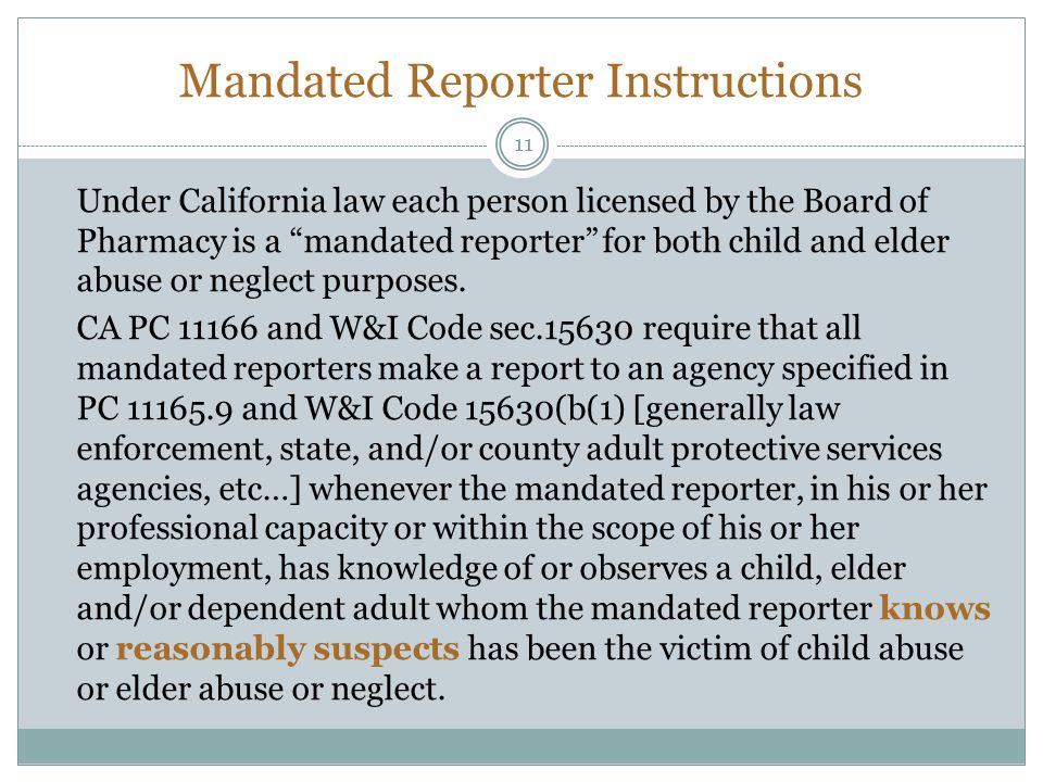 Mandated Reporter Instructions