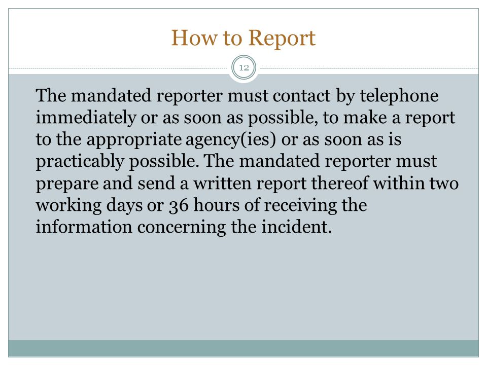 How to Report