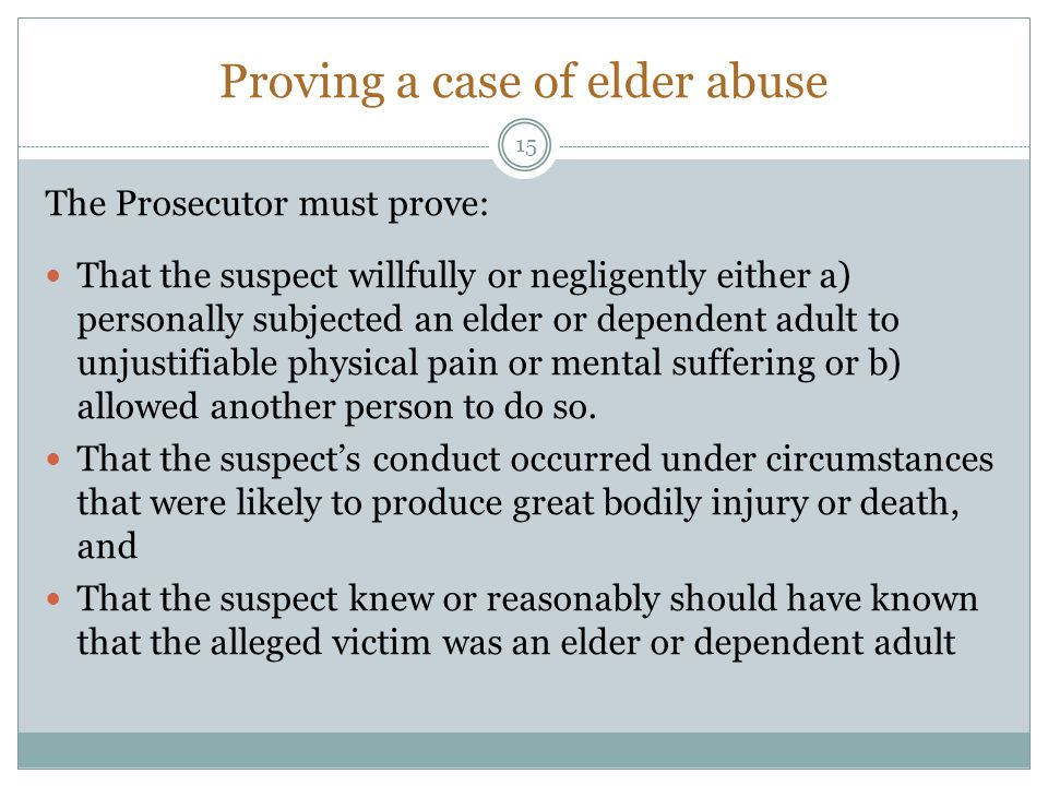 Proving a case of elder abuse