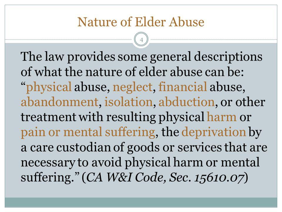 Nature of Elder Abuse