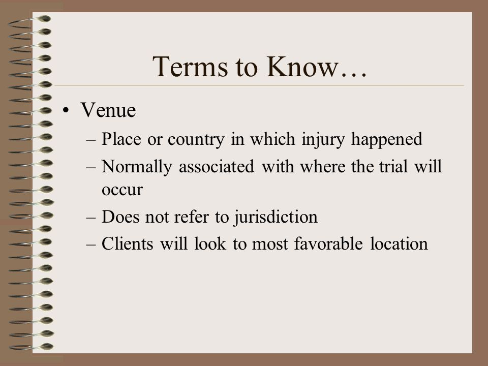 Terms to Know… Venue Place or country in which injury happened