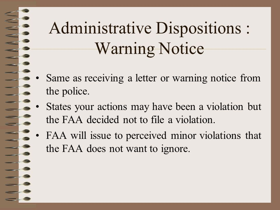 Administrative Dispositions : Warning Notice