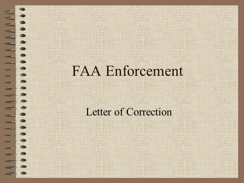 FAA Enforcement Letter of Correction