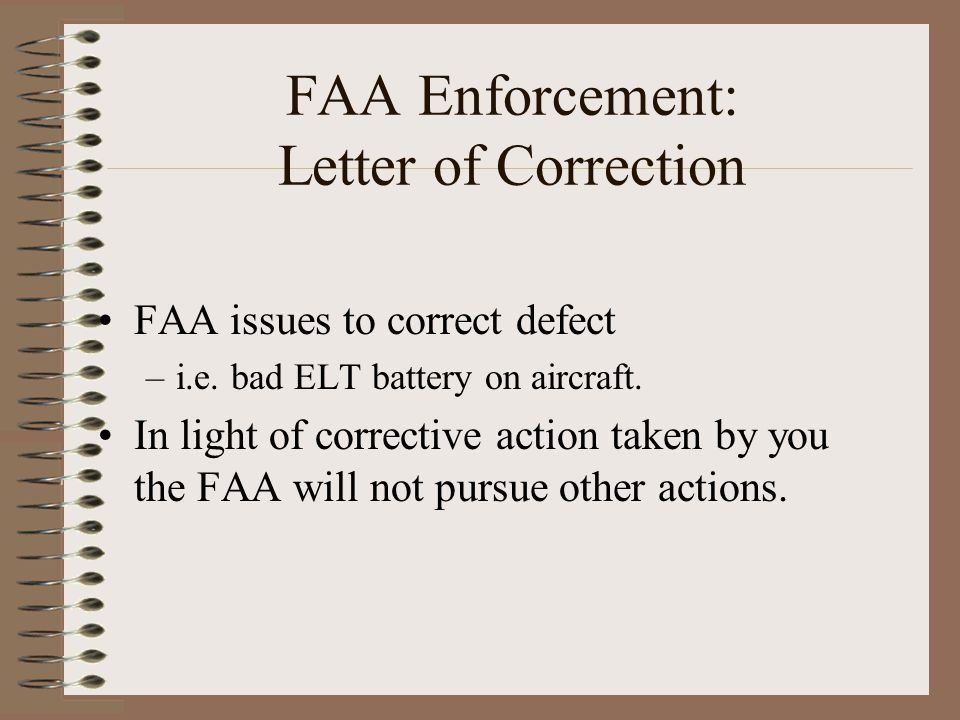 FAA Enforcement: Letter of Correction