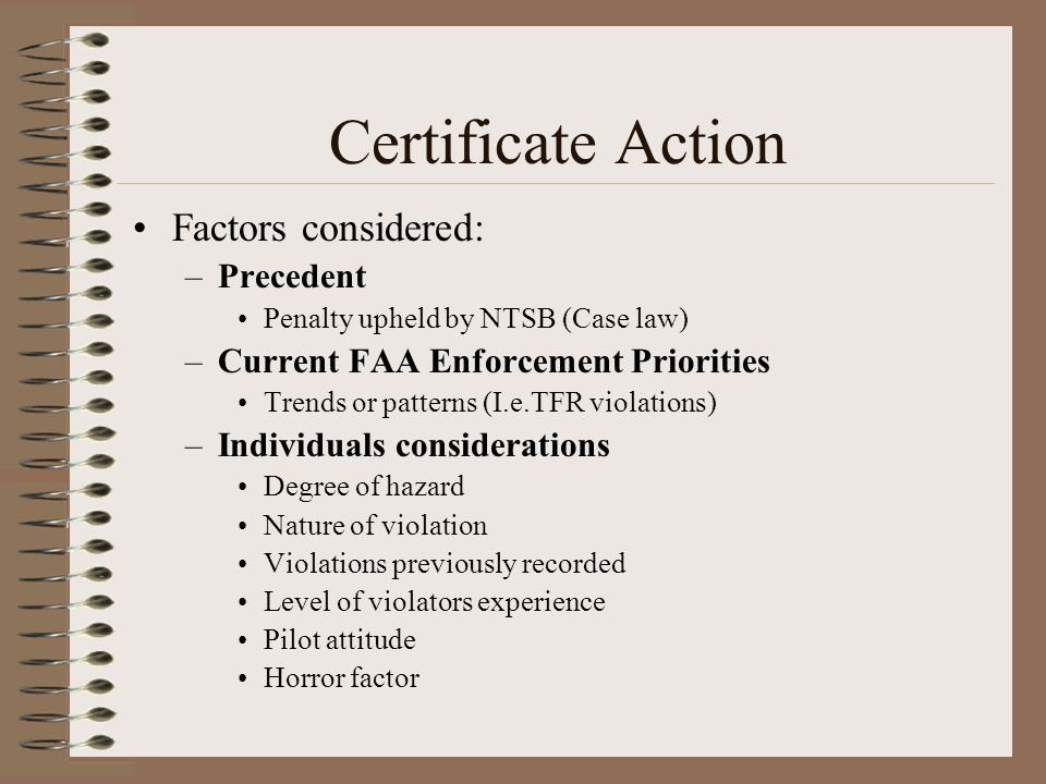 Certificate Action Factors considered: Precedent