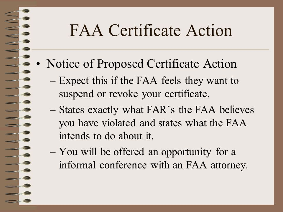 FAA Certificate Action