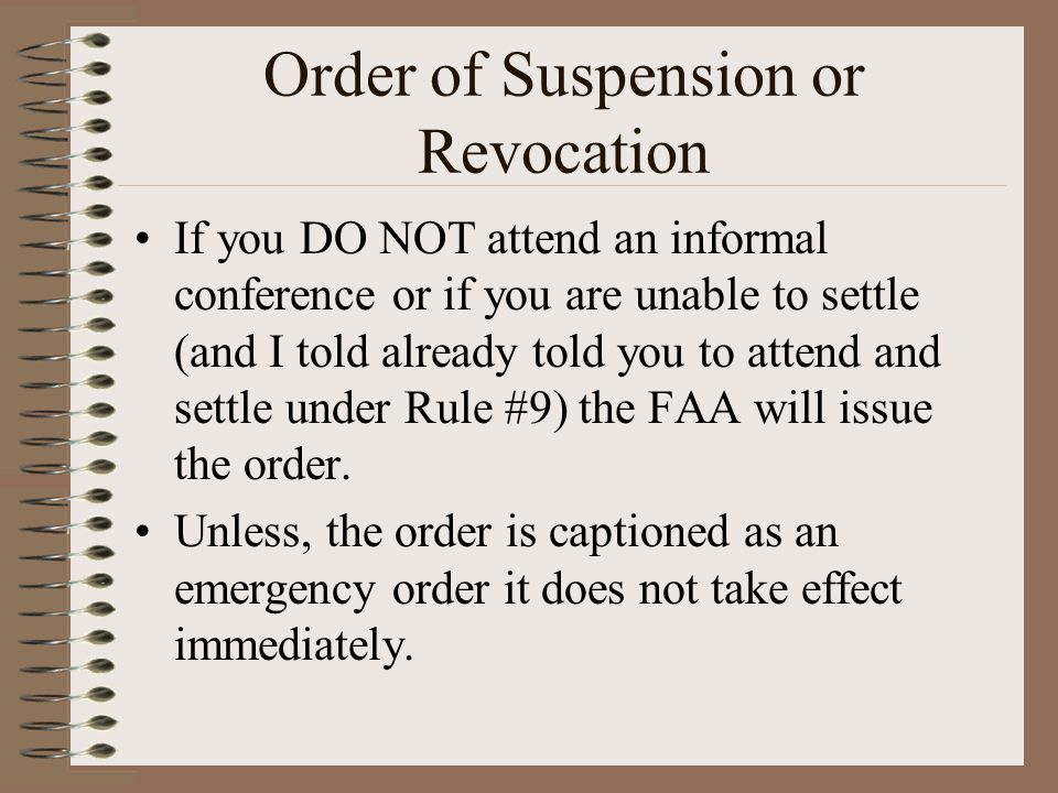 Order of Suspension or Revocation