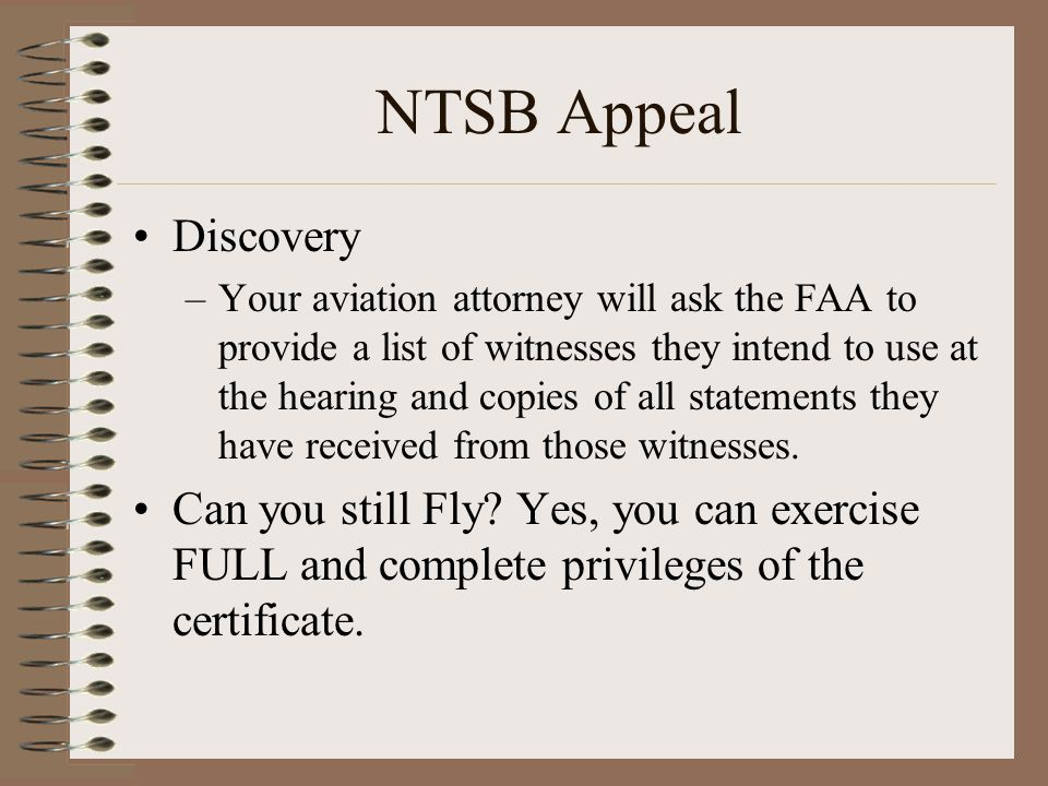 NTSB Appeal Discovery.