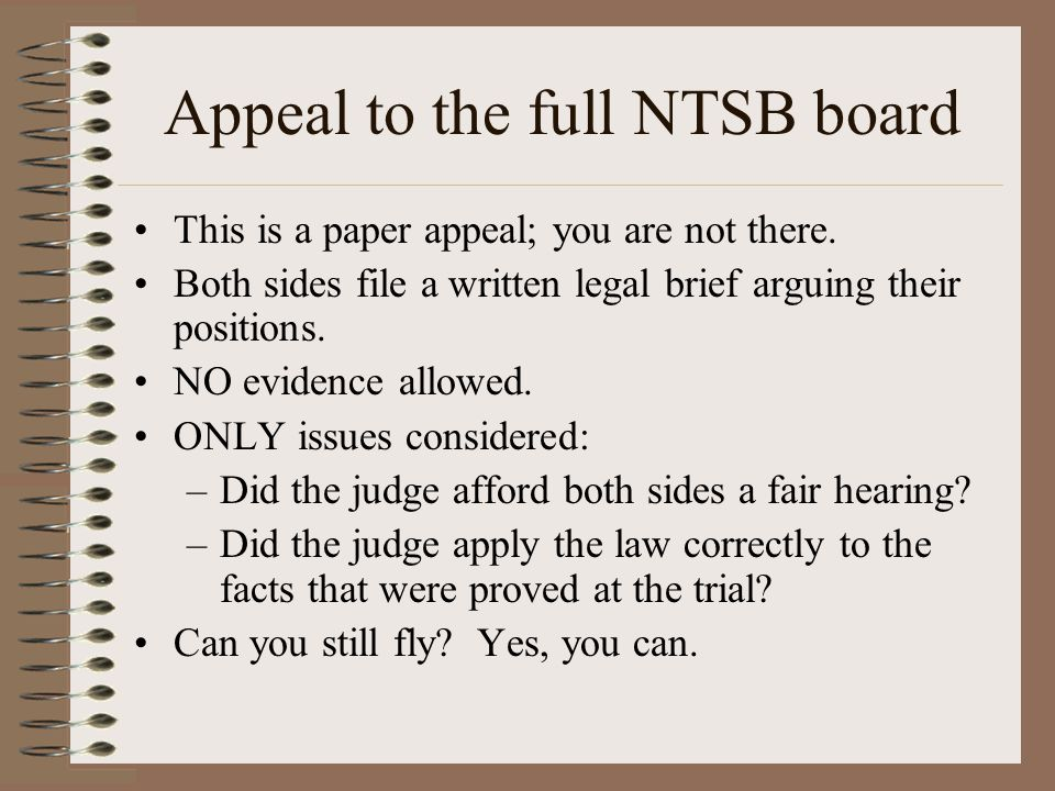 Appeal to the full NTSB board