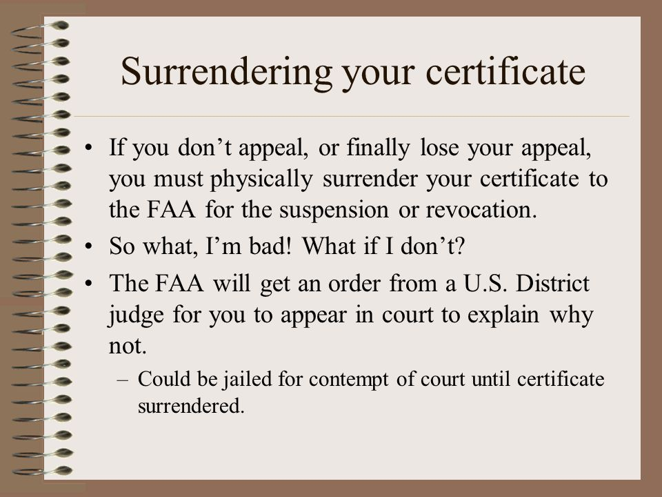 Surrendering your certificate