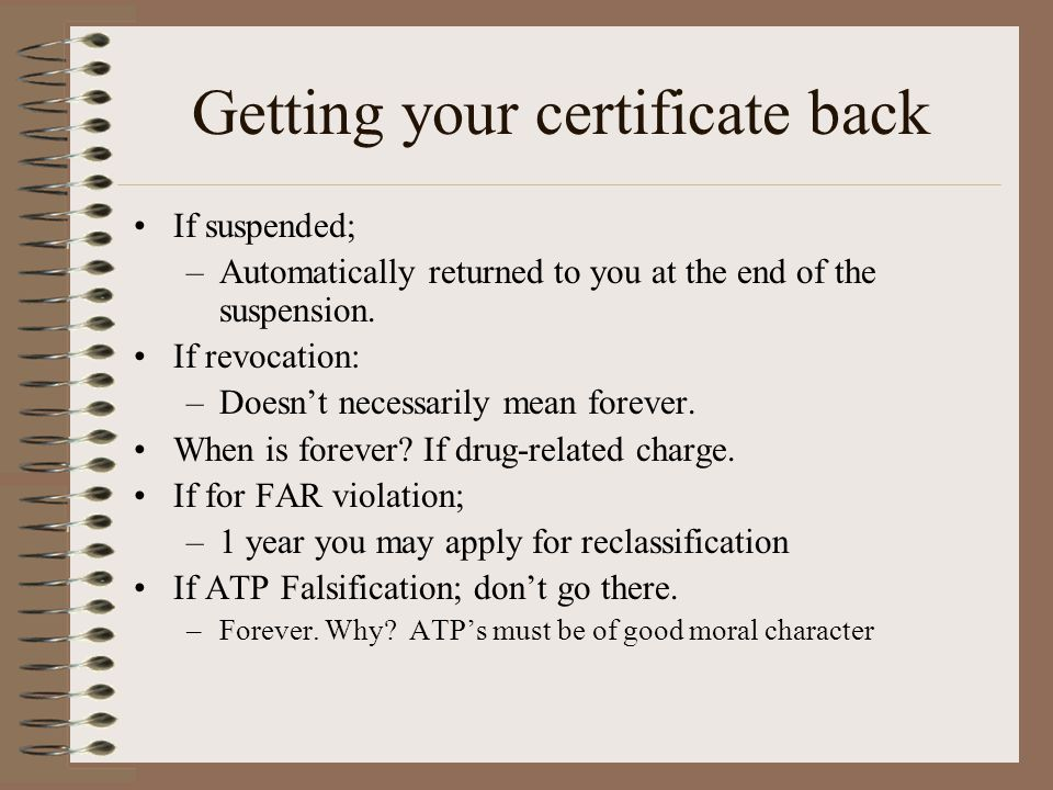 Getting your certificate back