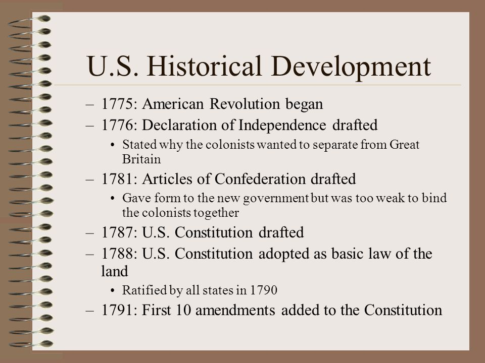 U.S. Historical Development