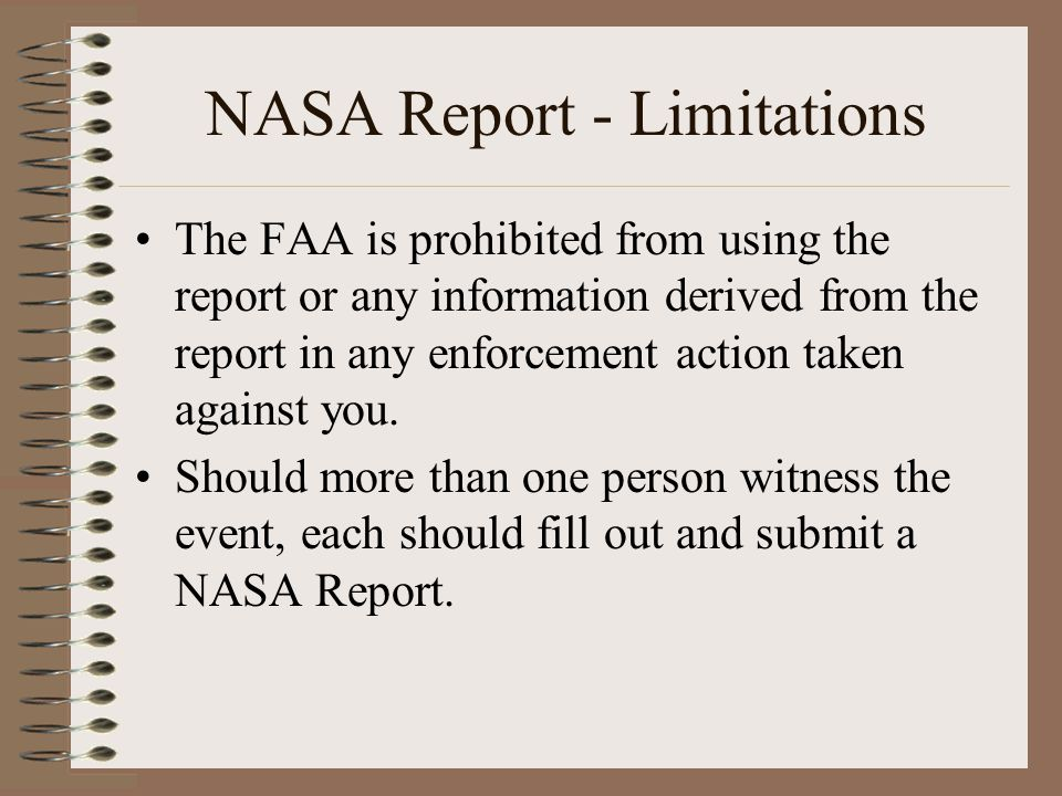 NASA Report - Limitations
