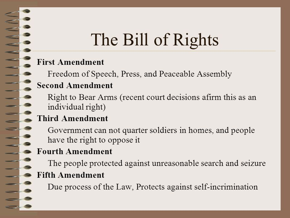 The Bill of Rights First Amendment