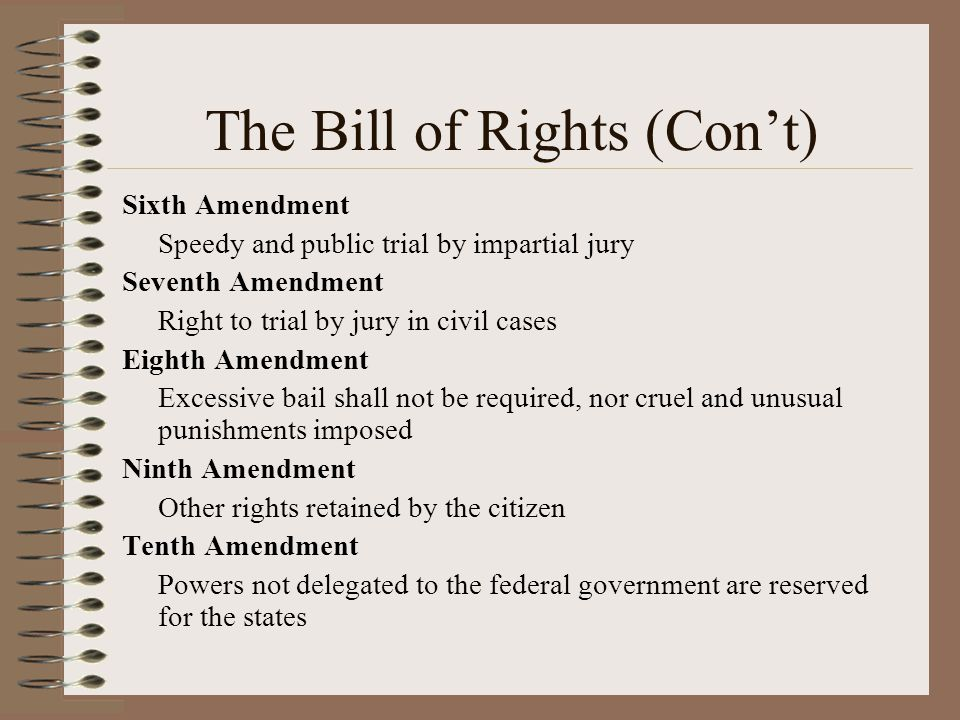 The Bill of Rights (Con't)
