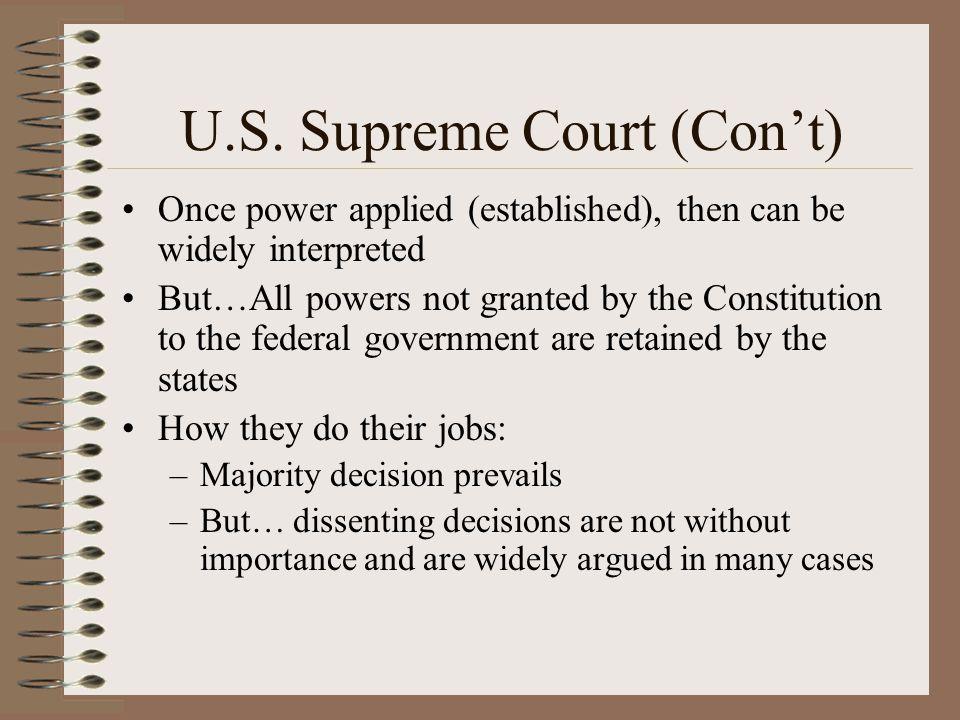 U.S. Supreme Court (Con't)