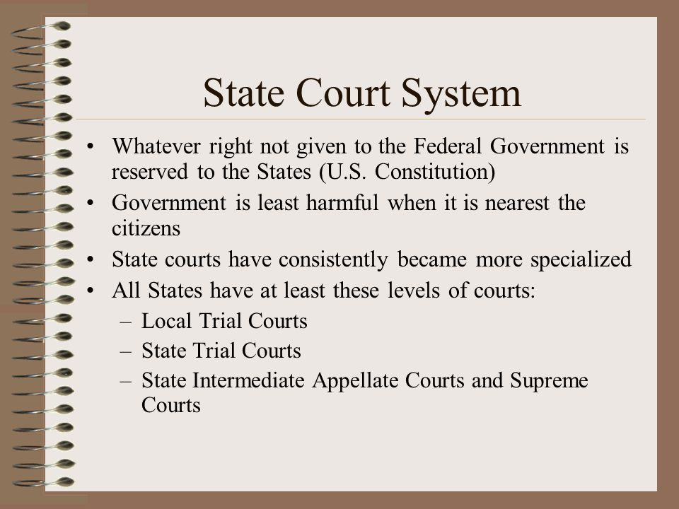 State Court System Whatever right not given to the Federal Government is reserved to the States (U.S. Constitution)