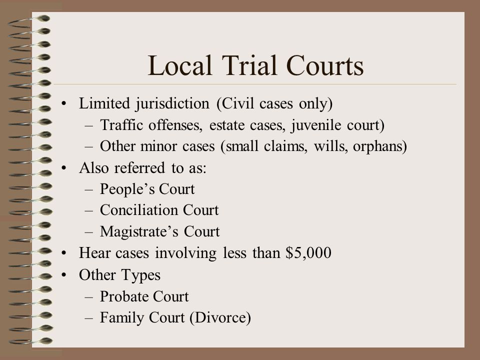 Local Trial Courts Limited jurisdiction (Civil cases only)