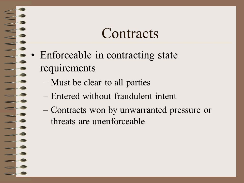 Contracts Enforceable in contracting state requirements