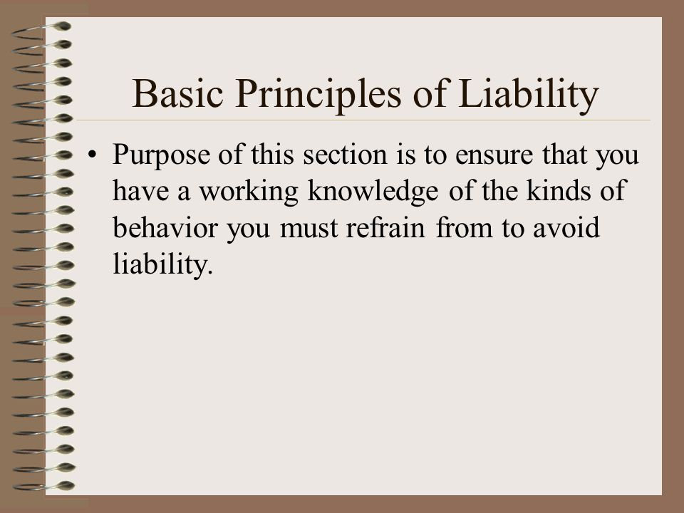 Basic Principles of Liability