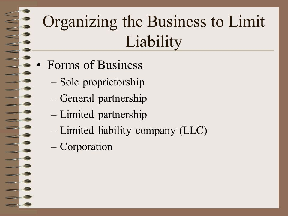 Organizing the Business to Limit Liability