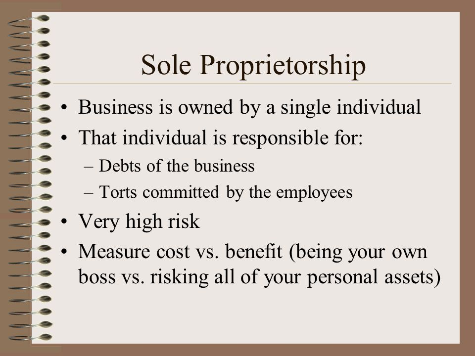 Sole Proprietorship Business is owned by a single individual
