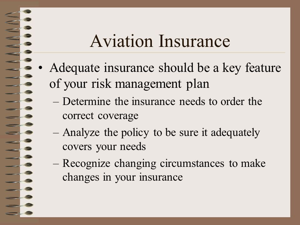 Aviation Insurance Adequate insurance should be a key feature of your risk management plan.