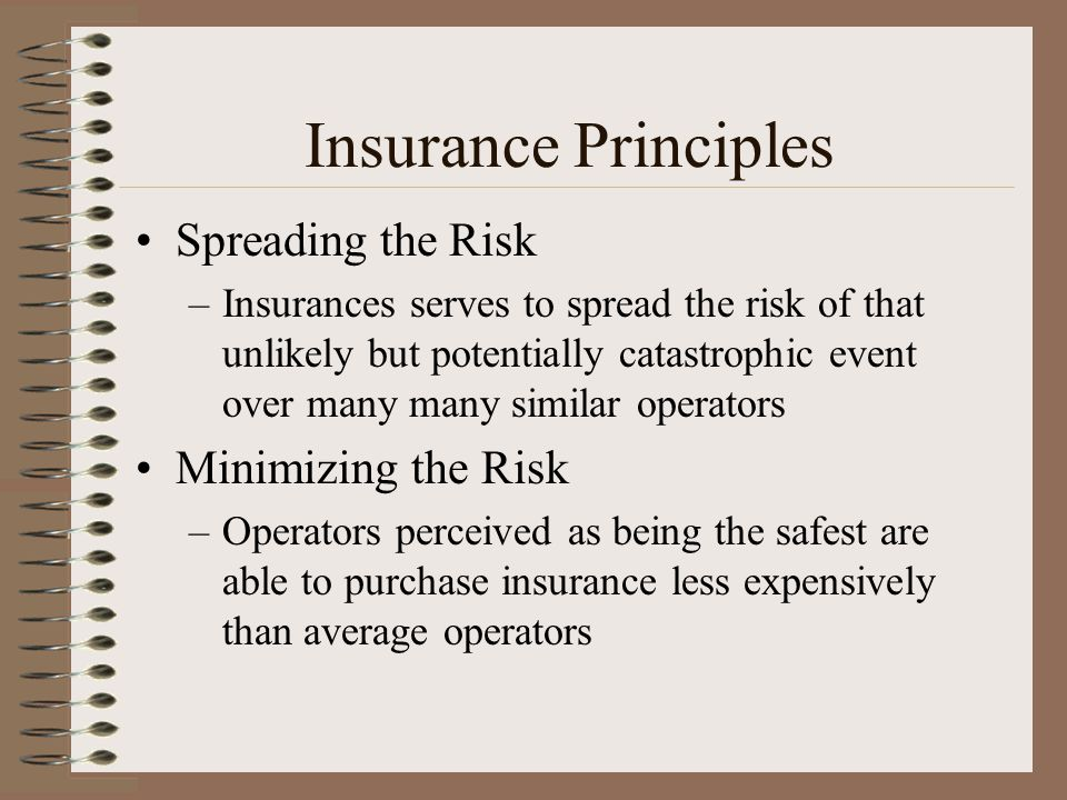 Insurance Principles Spreading the Risk Minimizing the Risk
