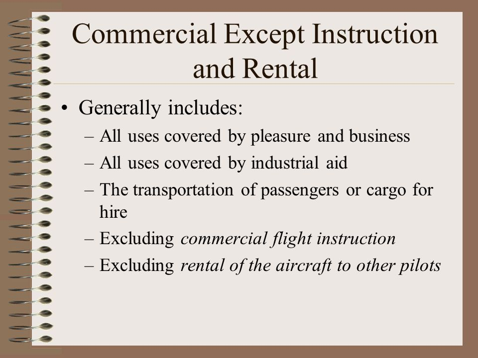 Commercial Except Instruction and Rental
