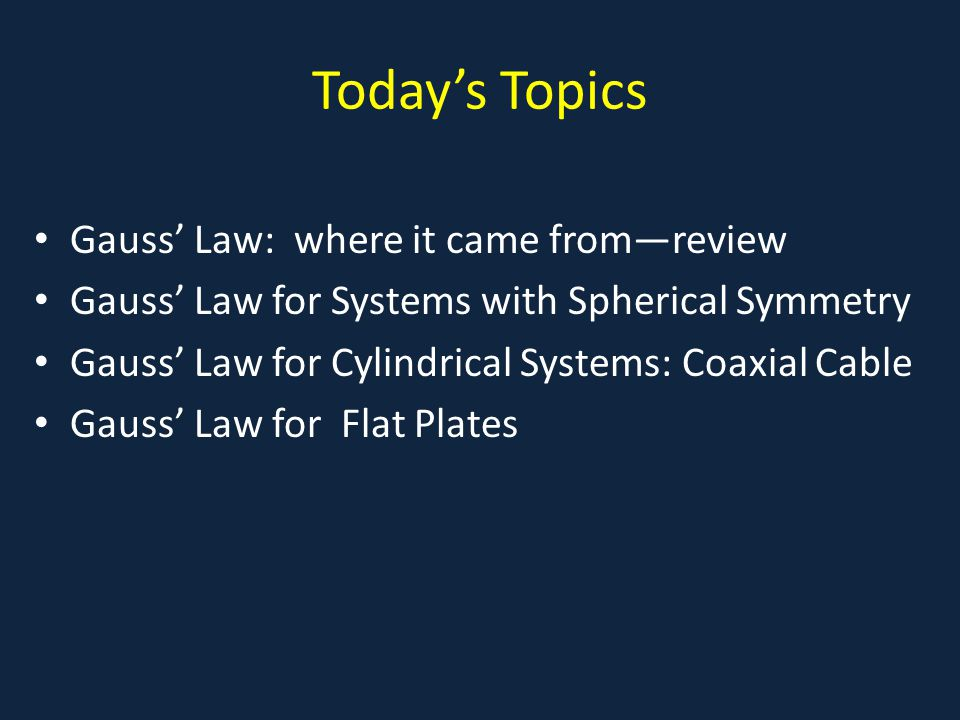 Today's Topics Gauss' Law: where it came from—review