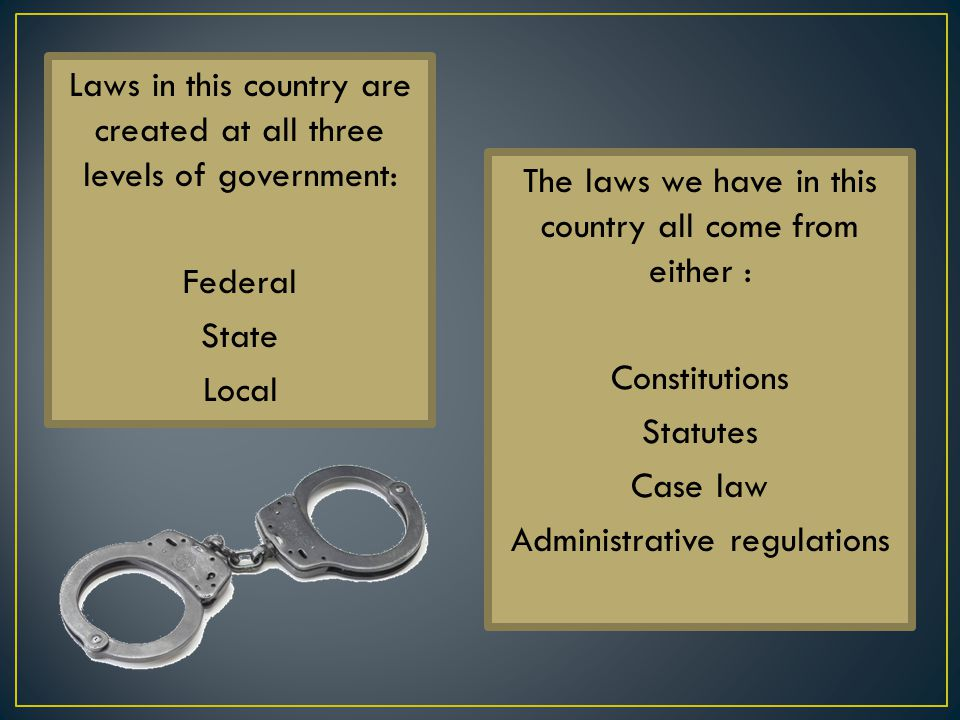 The laws we have in this country all come from either :