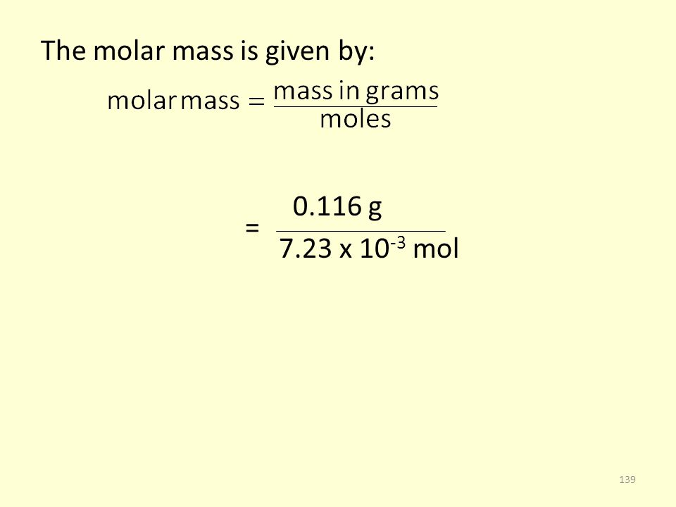 The molar mass is given by: