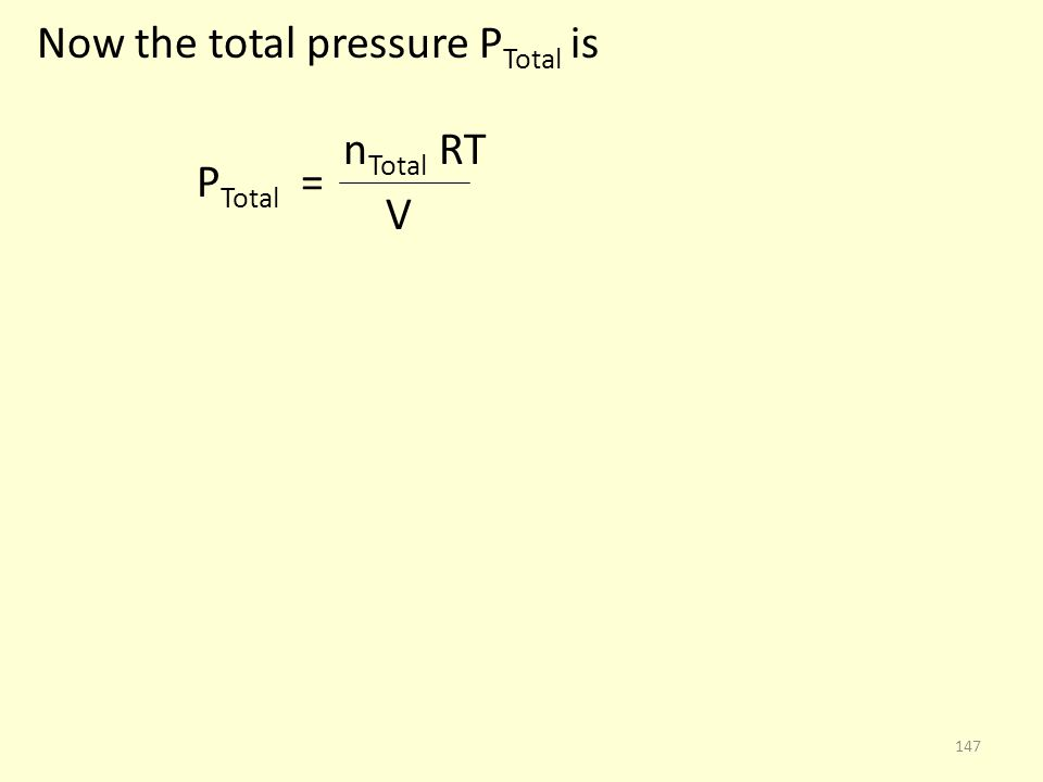 Now the total pressure PTotal is
