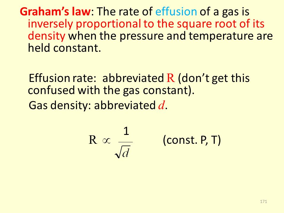 Gas density: abbreviated d. 1 R (const. P, T)