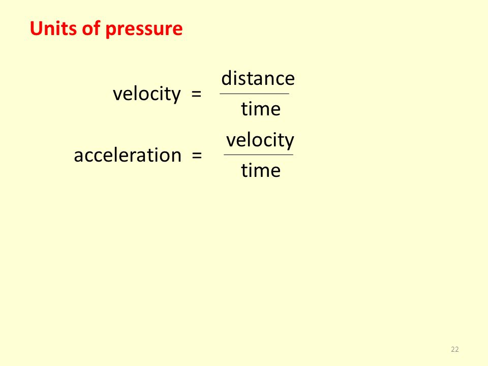Units of pressure distance velocity = time velocity acceleration =