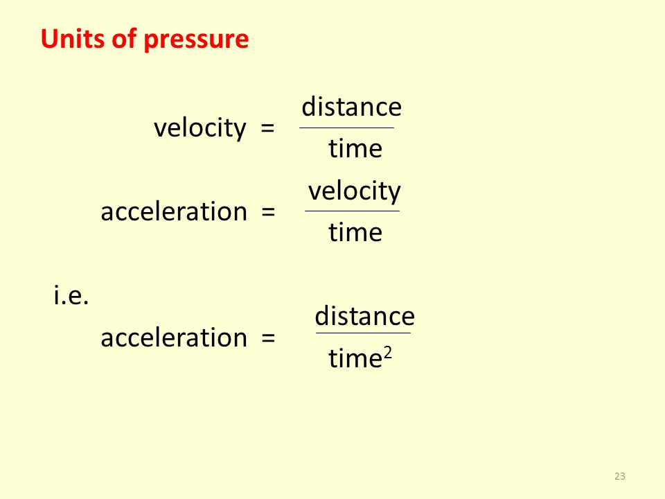 Units of pressure distance velocity = time velocity acceleration = i.e. time2