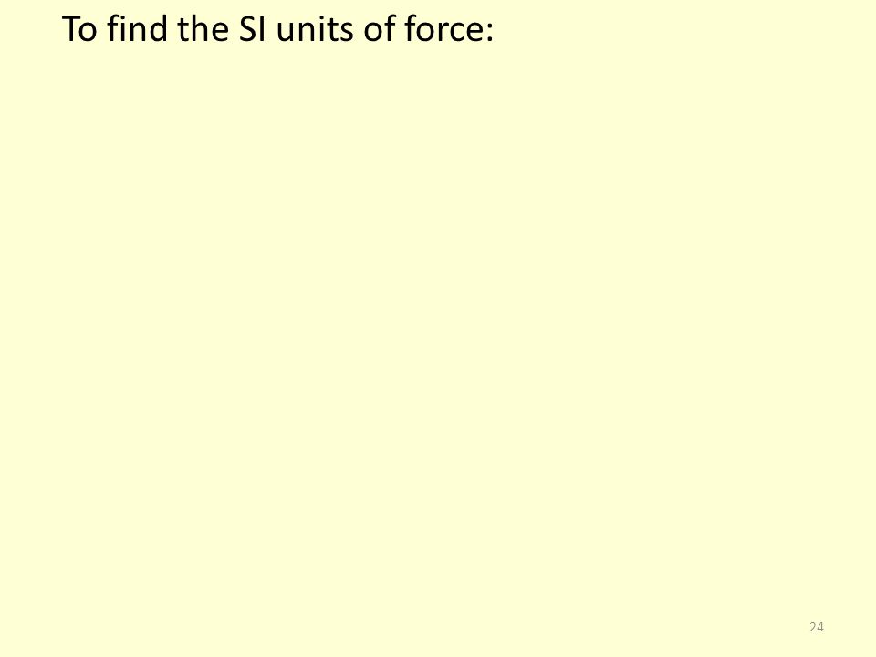 To find the SI units of force:
