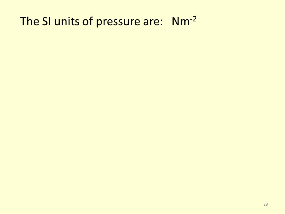 The SI units of pressure are: Nm-2