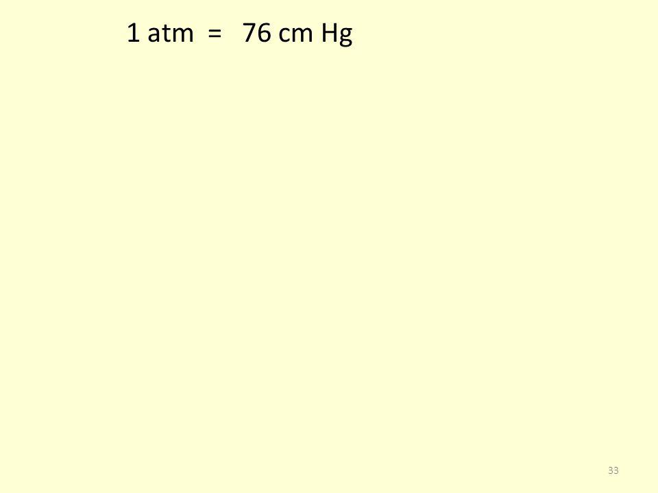 1 atm = 76 cm Hg