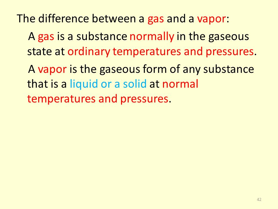 The difference between a gas and a vapor: A gas is a substance normally in the gaseous state at ordinary temperatures and pressures.