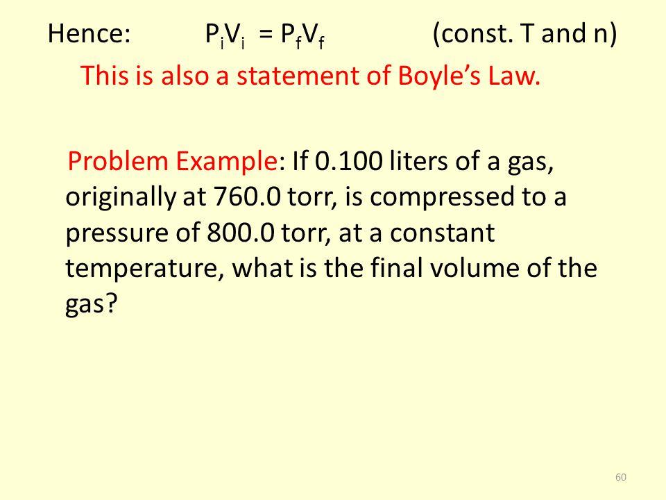 Hence: PiVi = PfVf (const