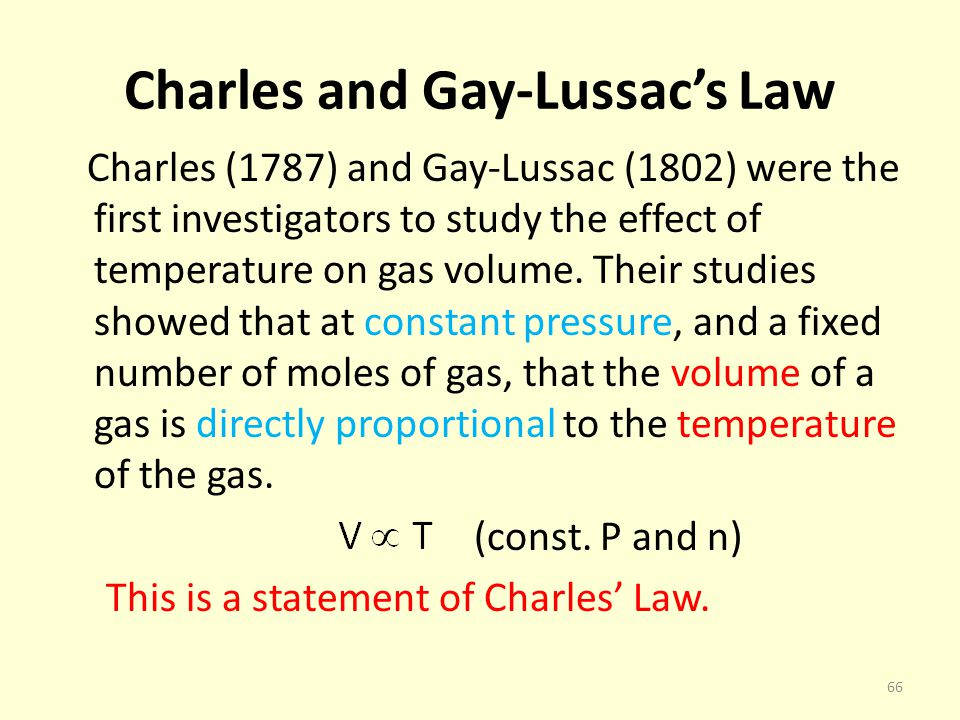 Charles and Gay-Lussac's Law
