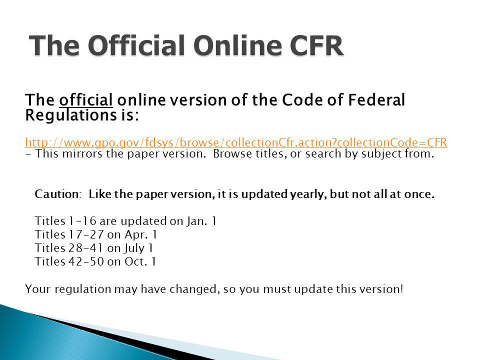 The Official Online CFR