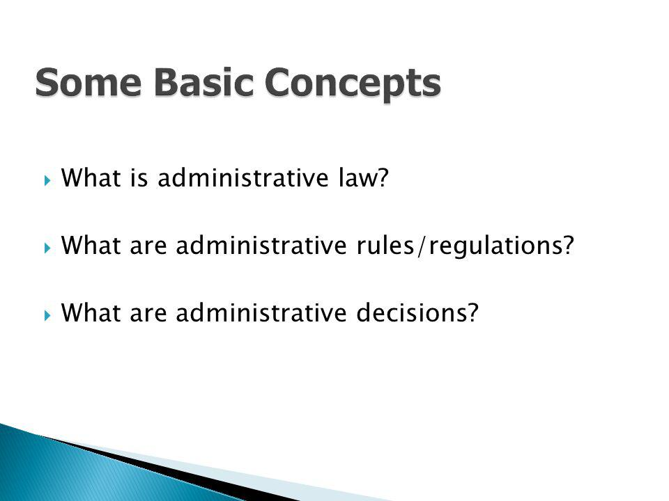 Some Basic Concepts What is administrative law