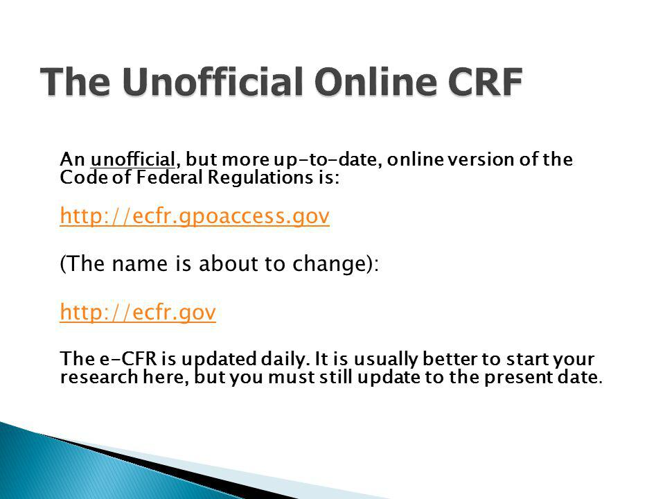 The Unofficial Online CRF