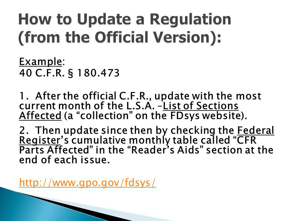 How to Update a Regulation (from the Official Version):