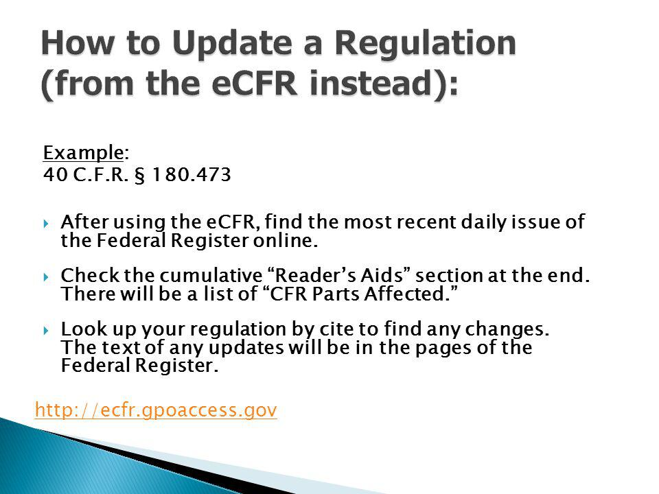 How to Update a Regulation (from the eCFR instead):